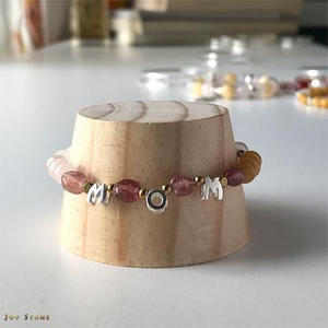 Health Bracelet Red Agate MOM Silver English Letters Beads